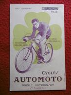 CYCLES AUTOMOTO PNEUS HUTCHINSON NOS COUREURS 1923 MAURICE VILLE - Cyclisme
