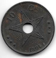 *Belgian Congo 10 Centimes 1894  Km 4  Xf !!! - Congo (Belgian) & Ruanda-Urundi