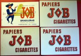4 Buvards Anciens TABAC : JOB - PAPIERS CIGARETTES BRASILENAS Fabriquées En CORSE Label SUP-AIR Par BERNEY FORIEN OEDIPE - Tobacco