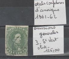 TIMBRE DES ETATS-UNIS  OBLITERES Nr 3 VERT-OLIVE 5 C COTE   125 EURO - Oblitérés