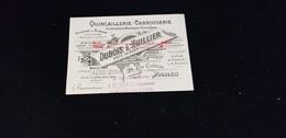Carte De Visite QUINCAILLERIE CARROSSERIE Construction Mécanique Usine à Vapeur DUBOIS L'HUILLIER Rue Corbeau PARIS - Visiting Cards