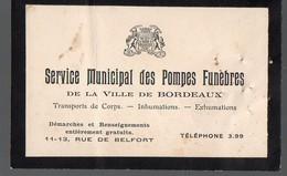 Bordeaux (33 Gironde) Carte Du SERVICE MUNICIPAL DES POMPES FUNEBRES (PPP12812) - Publicités