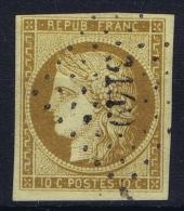 France : Yv Nr 1 Obl./Gestempelt/used  Signed/ Signé/signiert/ Approvato Brun - 1849-1850 Ceres