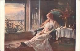 -ref X491-arts -tableaux - Peinture- Peintres - Illustrateurs -illustrateur -femmes - Peintre Louis Belle -resignation - - Cartes à Jouer