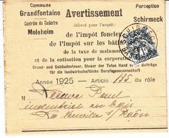 Avertissement De L'impôt Foncier Affr Y&T 107 Obl SCHIRMECK Du 24.7.25 Adressé à La Neuveville Les Raôn - Marcofilie (Brieven)