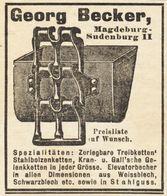 Original-Werbung/ Anzeige 1908 - TREIBKETTEN / ELEVATOR-BECHER / GEORG BECKER - SUDENBURG - Ca  45 X 55 Mm - Werbung