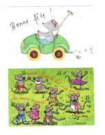 Lot 2 Cpm - Illustration .C. Donnier MAX Le Chat - BARBEL HAAS  Souris Rat Bonne Fête VOITURE Danse - Andere Zeichner