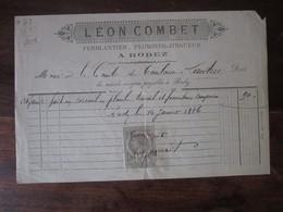 Ancienne Facture En-tête 1886 - Léon Combet - A Mr Le Comte De Toulouse Lautrec - Rodez - Altri