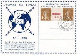 """MIRECOURT - JOURNEE DU TIMNRE 20.1938  - LIBELLE En ROUGE """" MIRECOURT 1938"""" Entre 2 Timbres De 1c - Altri"""