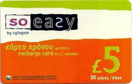 Cyprus - Cytagsm - So Easy, 5£ GSM Refill, Used - Cyprus
