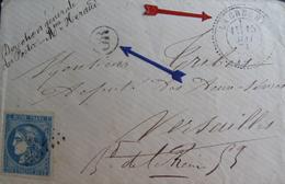 R1593/29 - CERES EMISSION DE BORDEAUX N°46B Sur LETTRE (LSC) - CàD Perlé - LA CRECHE (Deux Sévres) > VERSAILLES (S Et O) - 1870 Emission De Bordeaux