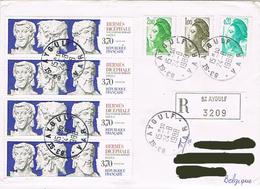 """France - (R) """"Hermès Dicéphale"""" & """"Liberté De Gandon"""" - St Aygulf Le 24 Août 88 - Marcophilie (Lettres)"""