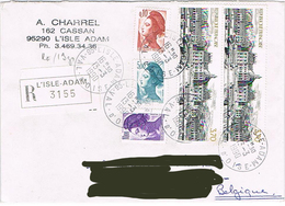 """France - (R) """"Vaux-le-Vicomte"""" & """"Liberté De Gandon"""" - L'Isle-Adam Le 13 Mars 90 - Marcophilie (Lettres)"""