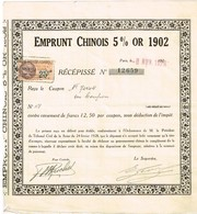 Obligation Ancienne  - Emprunt Chinois 5% Or 1902 - Titre De 1929 - Asia