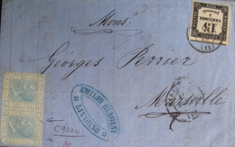 R1593/30 - TIMBRE TAXE N°3 + TIMBRES ITALIENS (PAIRE) Sur LETTRE (LAC) LIVOURNE (ITALIE) > MARSEILLE (FRANCE) - Taxes