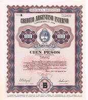 Obligation Ancienne - Credito Argentino Interno - Conversion 3ù 1946 - Titre De 1956 - Actions & Titres