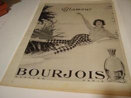 ANCIENNE PUBLICITE PARFUM GLAMOUR DE  BOURJOIS 1958 - Autres
