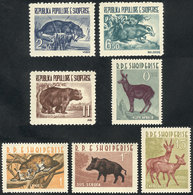 14 ALBANIA: Yvert 549/551 + 597/600, 1961 And 1962 Animales, Complete Sets Of 3 Values Each, Unmounted, Excellent Qualit - Albania