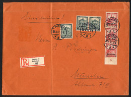 18 GERMANY: Sc.B42/B43, 1932 Set Of 2 Surcharged Values, 3 Examples Of Each Value Franking A Registered Cover From Passa - Germany