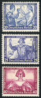 19 GERMANY: Sc.B55/B57, 1933 Wagner, The 3 High Values Of The Set, Mint Lightly Hinged, Very Fine Quality, Catalog Value - Germany