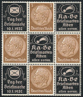 20 GERMANY: Sc.416, Block Of 4 Stamps + 5 Cinderellas, Interesting! - Germany