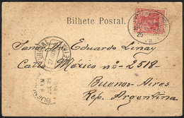 """33 GERMANY: Postcard (Madeira, Porto Cruz) Franked With German Stamp Of 10Pf., Posted AT SEA, Postmarked """"""""Deutsche Seep - Germany"""