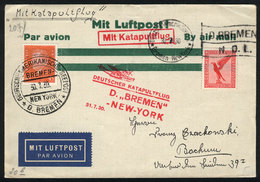 39 GERMANY: 30/JUL/1930 High Seas - New York, Cover Carried On Catapult Flight Via Ship Bremen, With Special Marks And P - Germany