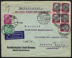 45 GERMANY: Airmail Cover Sent By Air France From Bremerhaven To Argentina On 9/AU/1934 Franked With 3.45Mk., All The St - Germany