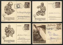54 GERMANY: 4 Cards Illustrated With Nazi Motifs, Mailed Between 1936 And 1939, Fine Quality! - Germany
