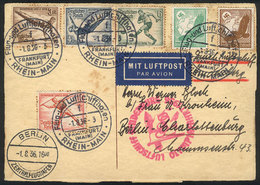 61 GERMANY: Card With Nice Postage Flown From Frankfurt To Berlin On 1/AU/1936 On The Special Zeppelin Flight For The BE - Germany