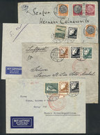 64 GERMANY: 4 Covers Sent To South America Between 1937 And 1939, Nice Postages! - Germany