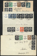 """67 GERMANY: 4 Covers Used Between 1937 And 1945, Franked With Stamps In Pairs Or """"""""Zusammendrucke"""""""" Strips, Very Nice!"""" - Germany"""