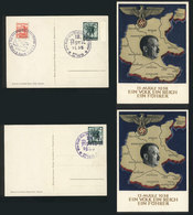 71 GERMANY: 2 Postcards Illustrated With Map Of Germany And Hitler, With Special Cancels Applied In Wien (Austria) On 10 - Germany