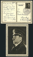 78 GERMANY: Postal Card Illustrated On Back With View Of Hitler With Nazi Cap, Sent From Nünberg To Strasburg On 20/AP/1 - Germany