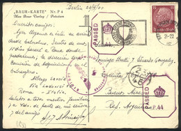 83 GERMANY: Postcard Sent From Berlin To Argentina On 23/AP/1940 Franked With 15Pg., Double Nazi + Allied Censorship, In - Germany