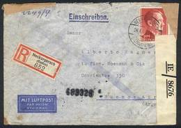 90 GERMANY: Registered Air Mail Cover Sent To Argentina On 24/JUN/1943, Franked By Michel 801 Alone (3RM. Hitler), With  - Germany