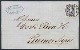98 GERMANY: 8/AUG/1879 HAMBURG - ARGENTINA: Folded Cover Franked By Sc.32, Sent To Buenos Aires, Arrival Backstamp 16/SE - Germany