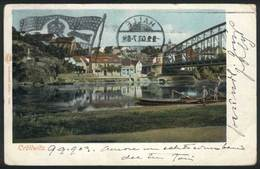 """115 GERMANY: CRÖLLWITZ: Handsome Color View Of The River, Franked With 5Pf. Stamp With Perfin """"""""JOLY"""""""" And Special Cance - Germany"""