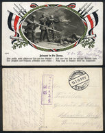 118 GERMANY: Soldiers With Rifles With Bayonet, Used In 1916 With Military Free Frank (Feldpost), VF Quality! - Germany