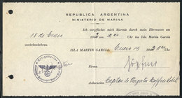 120 GERMANY: WWII INTERNED GERMAN SAILORS IN ARGENTINA: Document Of 15/JA/1942 For A German Sailor Of The Cruiser Graf S - Books, Magazines, Comics