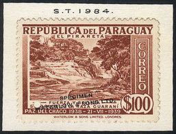 1646 PARAGUAY: Sc.373, 1940 100P. Piraretá Falls, SPECIMEN Of Waterlow & Sons Ltd. In A Color Different From The Adopted - Paraguay