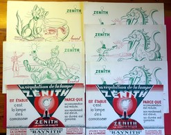 9 Buvards Anciens LAMPE ZENITH à AIX En PROVENCE - Chat,poisson Bocal, Clowns, Indien Dragon, RAYNITH Imp.MARSEILLAISE M - Electricity & Gas