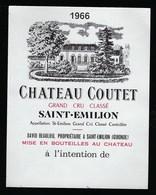 Etiquette Vin  Chateau  Coute Saint Emilion Grand Cru Classé 1966 David Beaulieu    Propriétaire - Bordeaux