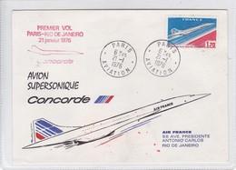 FIRST FLIGHT. PARIS-RIO DE JANEIRO 1976 CONCORDE AVION SUPERSONIQUE. FRANCE.-BLEUP - Airmail