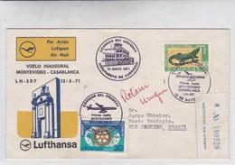 FIRST FLIGHT. VUELO INAGURAL MONTEVIDEO-CASABLANCA LH 507 LUFTHANSA 1971. RECOMMANDE. URUGUAY.-BLEUP - Uruguay