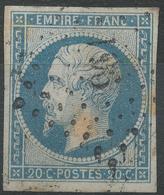 Lot N°42980   N°14A Bleu Laiteux, Oblit PC 961 Cornimont, Vosges (82), Ind 9, Bonnes Marges - 1853-1860 Napoléon III