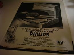 ANCIENNE PUBLICITE TOURNE DISQUE A G 4000 PHILIPS 1959 - Other