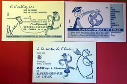 3 Buvards Anciens Différents - Agriculture : ENGRAIS SUPERPHOSPHATE DE CHAUX -  Buvards Crées Par PROSPECTA - Farm
