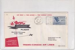 FIRST FLIGHT. TRANS CANADA AIR LINES 1st SCHEDULED PROPELLER-TURBINE FLIGHT IN NORTH AMERICA 1955.-BLEUP - Poste Aérienne