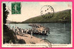 Construction D'un Pont De Bateaux Par Le Génie - Commencement De La Conversion - Animée - Edit. B.F. - 1912 - Colorisée - Manoeuvres